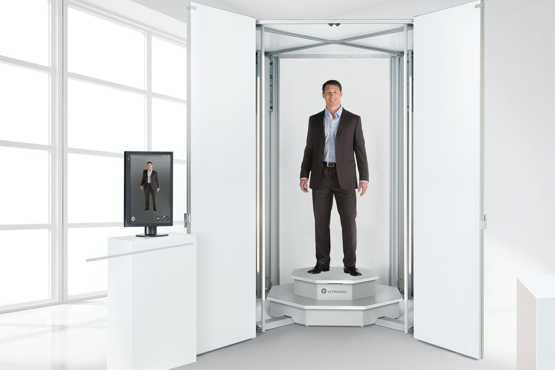 Maßbekleidung wird mit dem Bodyscanner digital hergestellt.