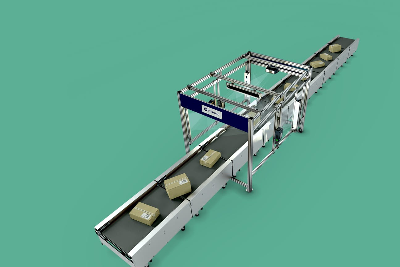 A complete Auto-ID solution with conveyor belt for outgoing goods and picking
