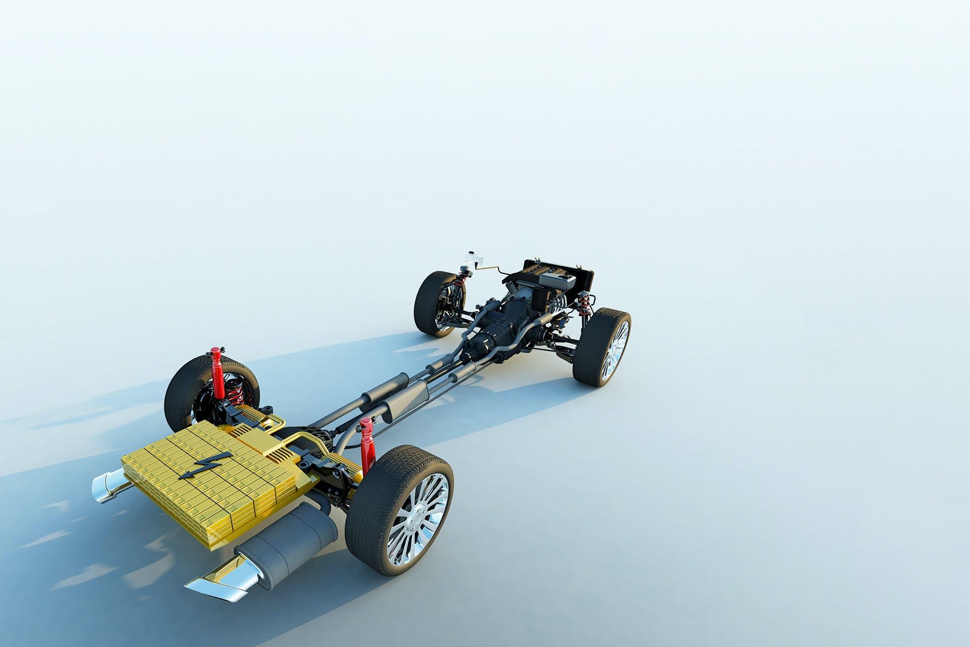 Fahrgestell eines Autos mit Reifen und Elektroantrieb