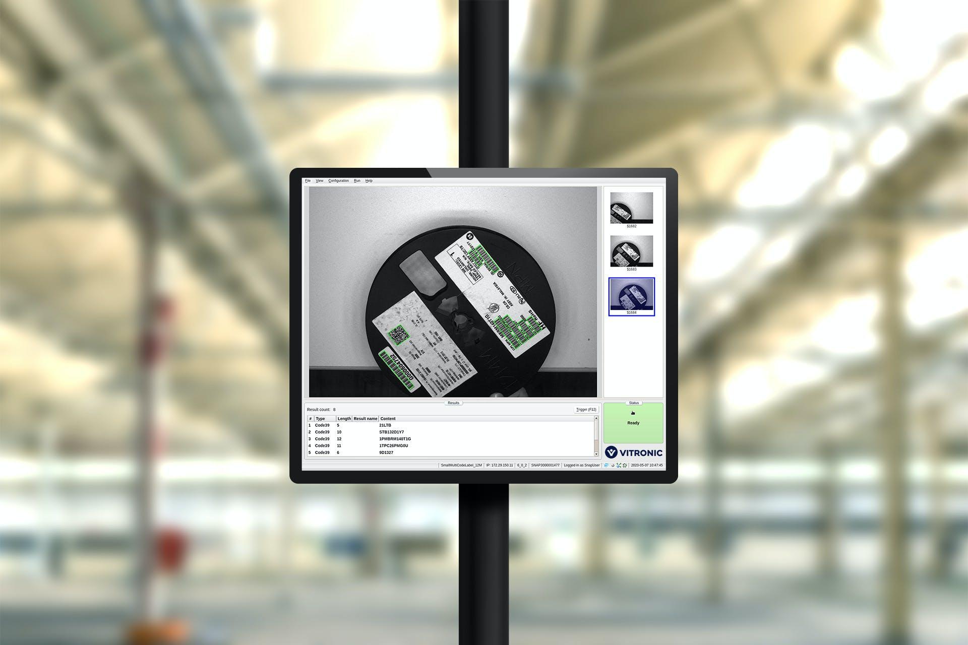 Ein Bildschirm mit einer erfassten SMD-Spule.