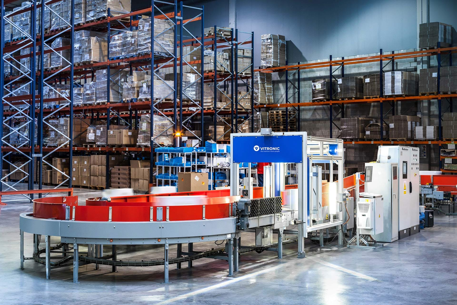 View into a warehouse with an Auto-ID system