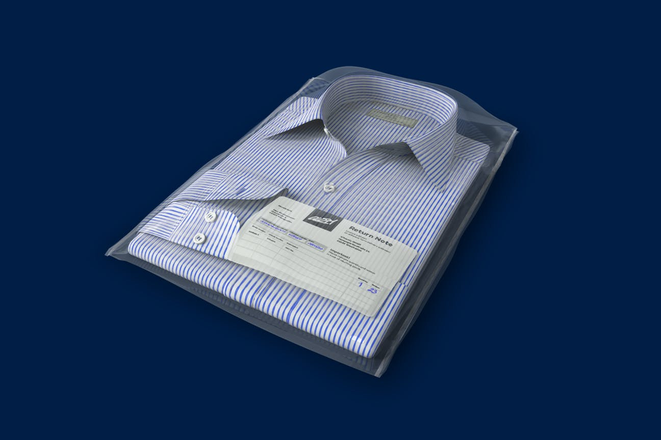 A shirt as a return with a return sticker against a blue background.