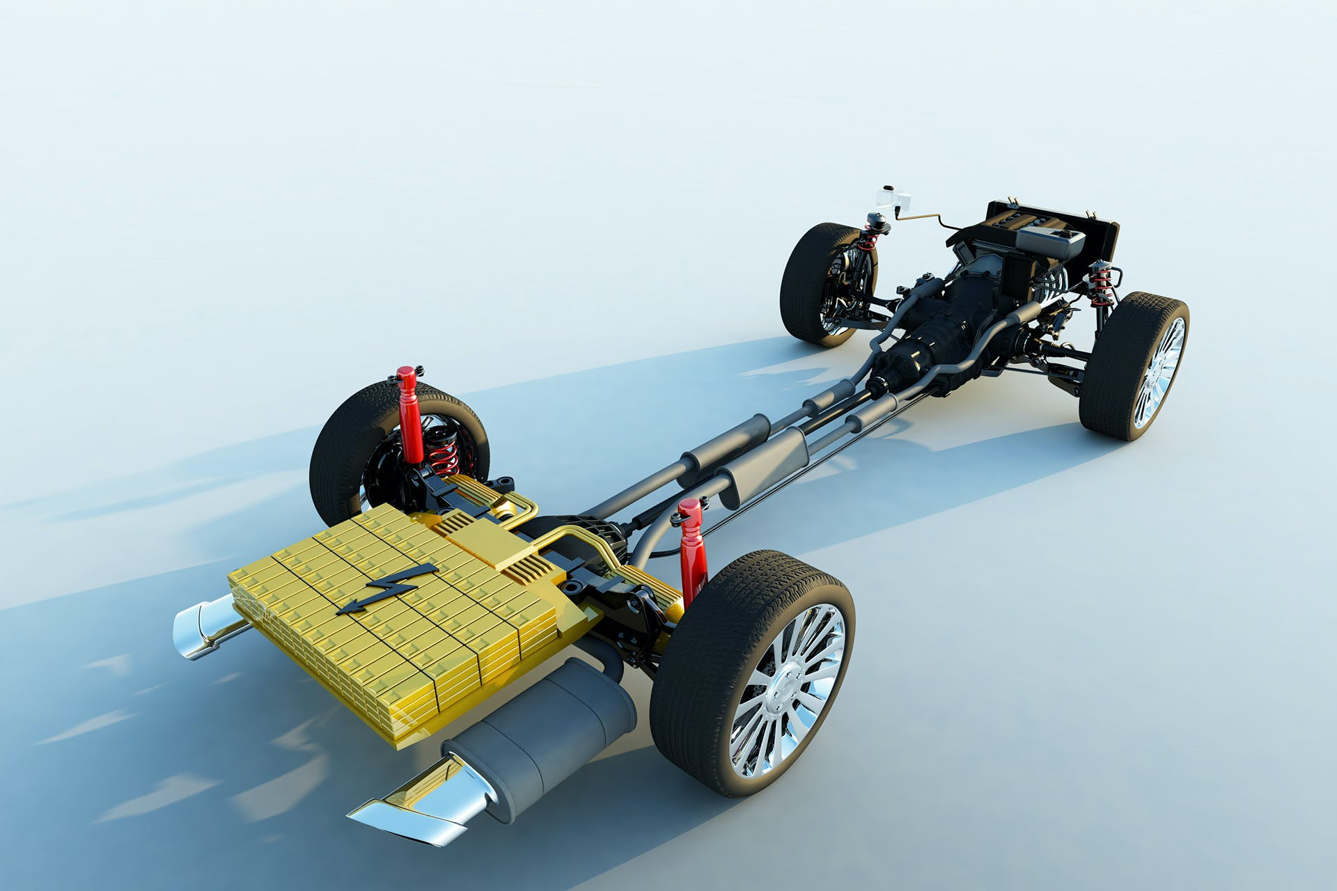 Chassis of a car with tyres and electric drive