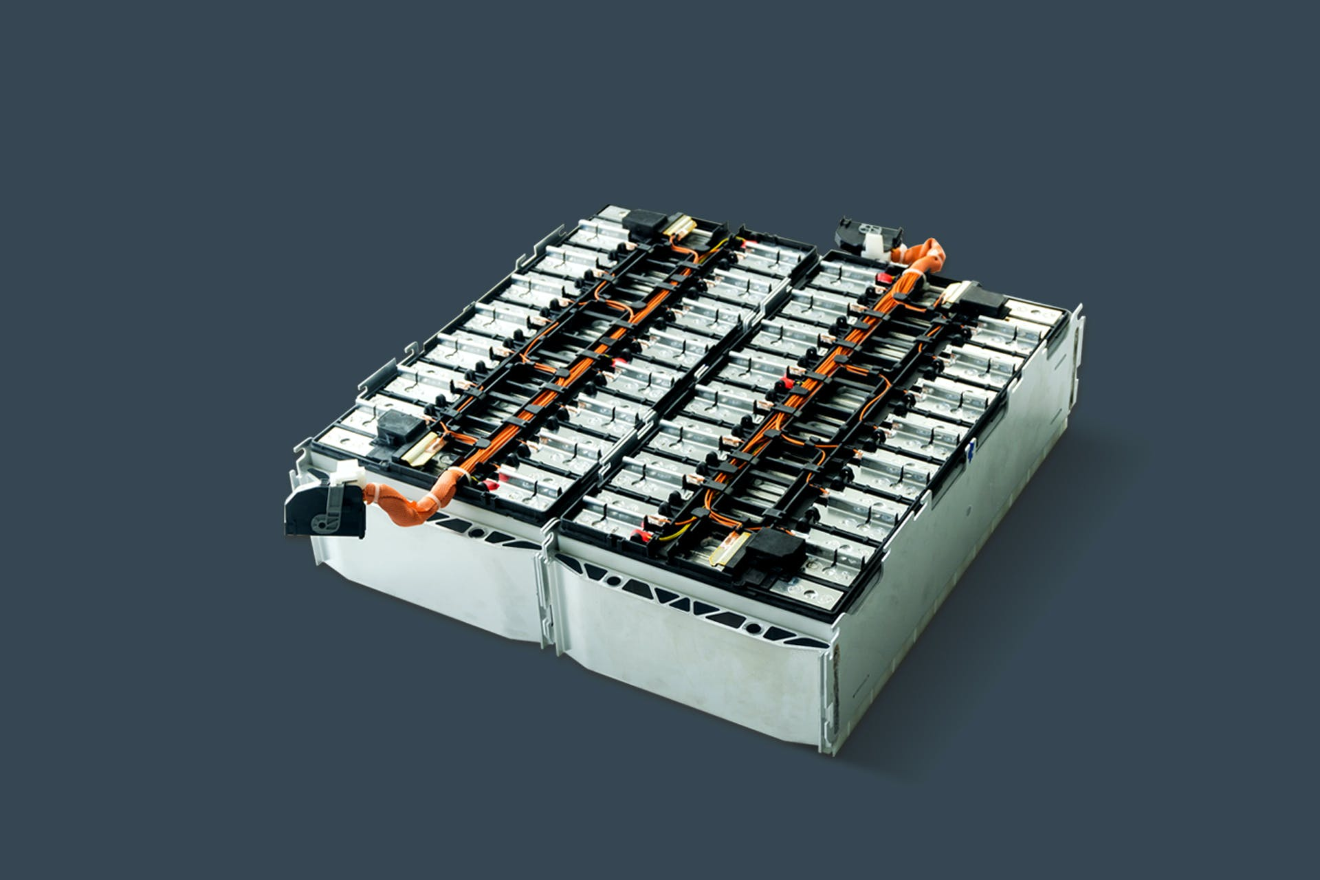 A battery box for electric vehicles on a grey background.