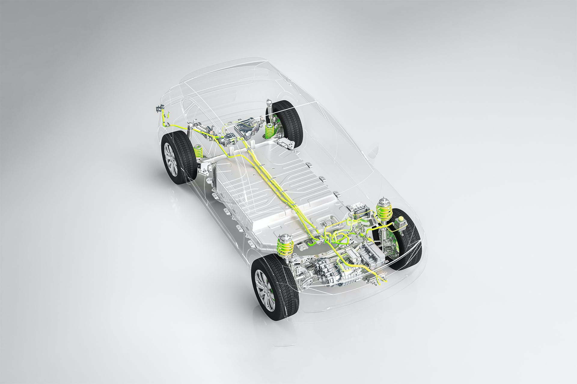 A car with transparent bodywork shows the electric drive and battery technology