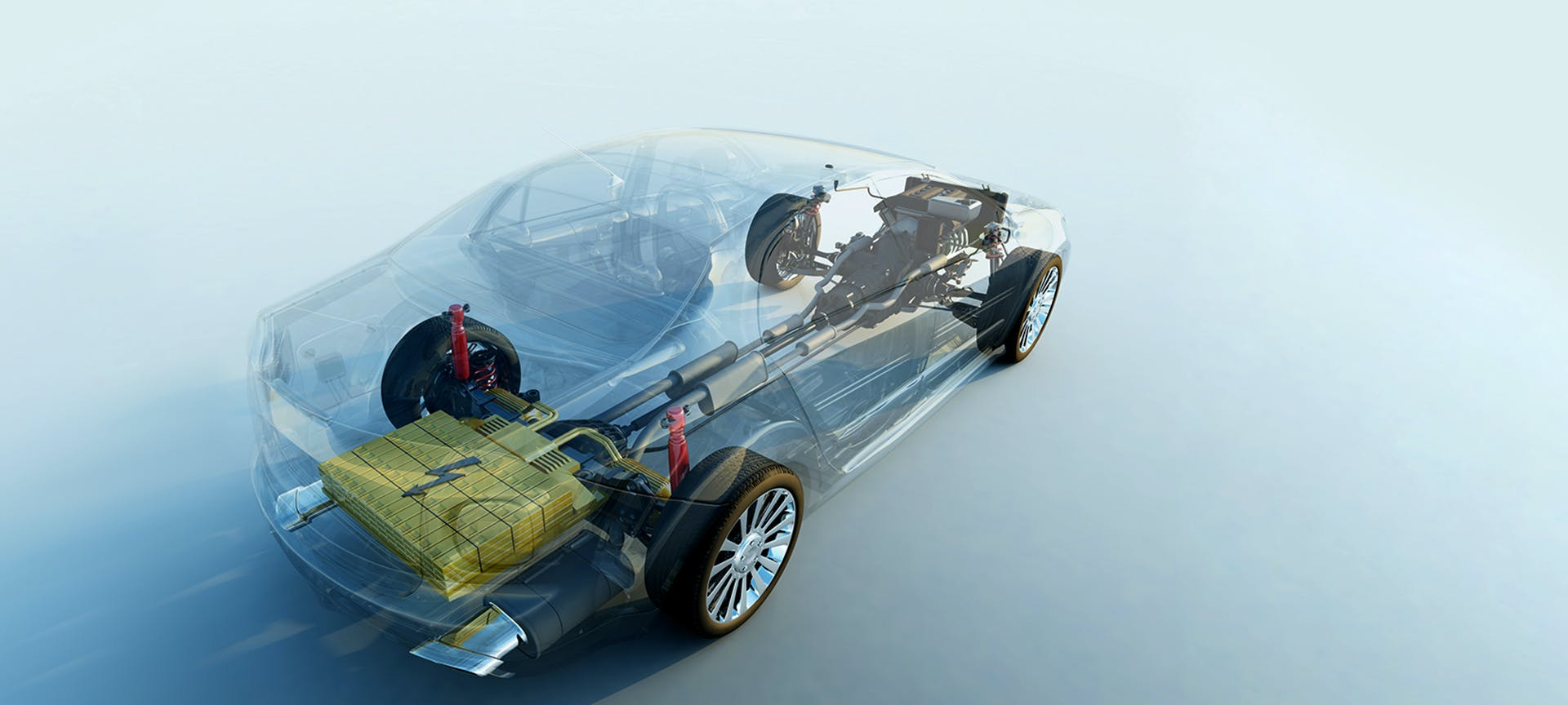A car with electric drive and transparent bodywork drives diagonally through the picture