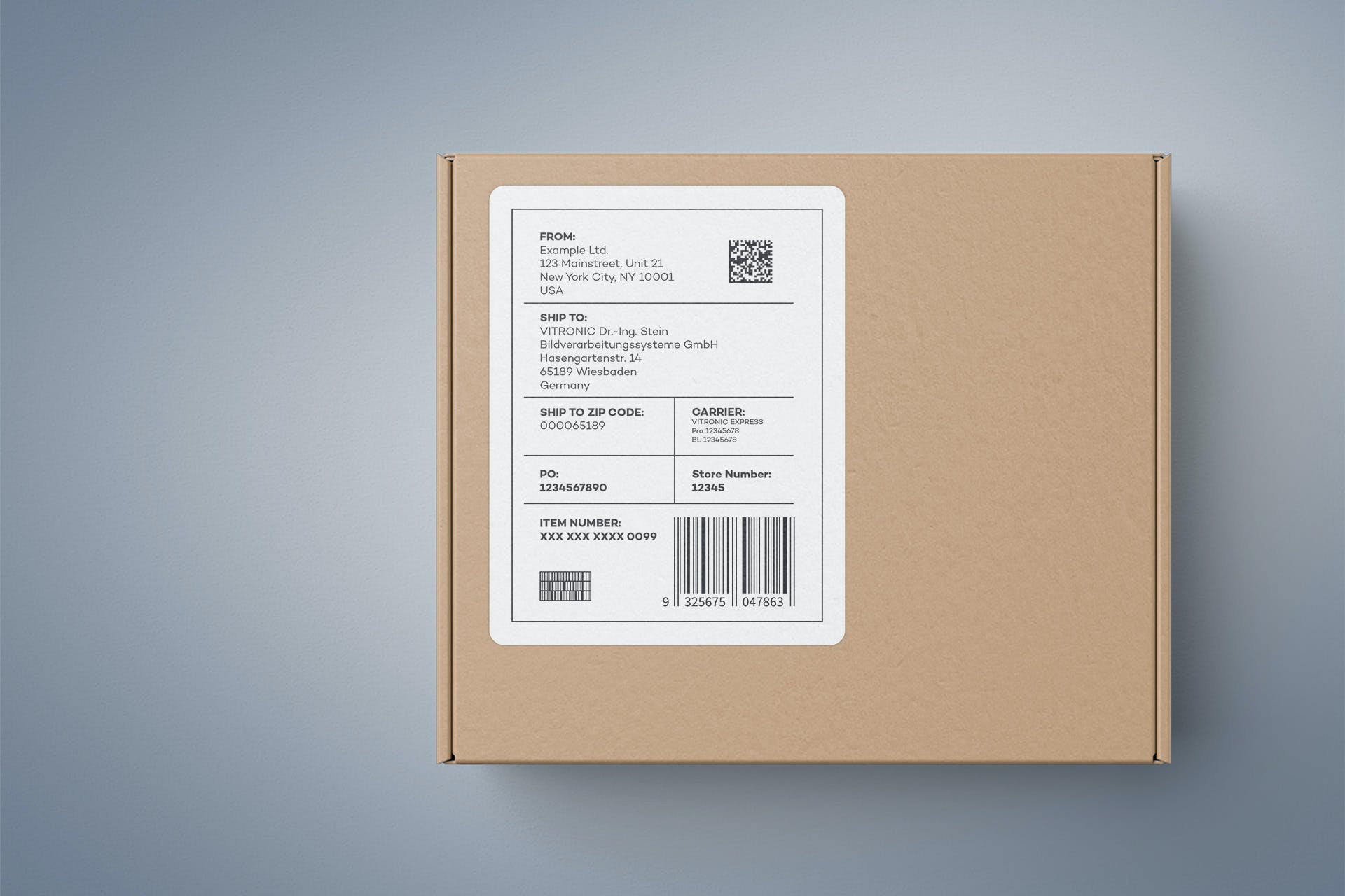 An address label with codes and plain text on a package