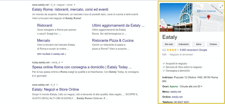 esempio scheda online google my business eataly roma