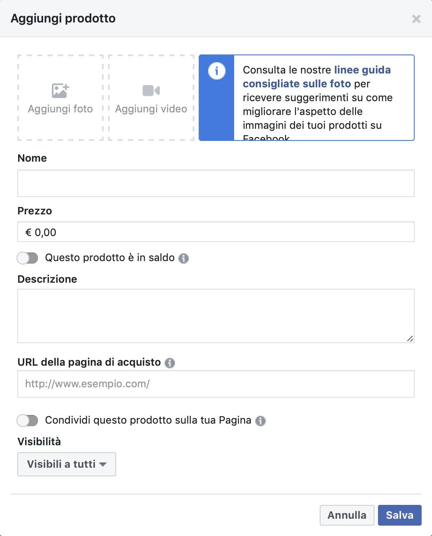 tutorial inserimento prodotti vetrina facebook
