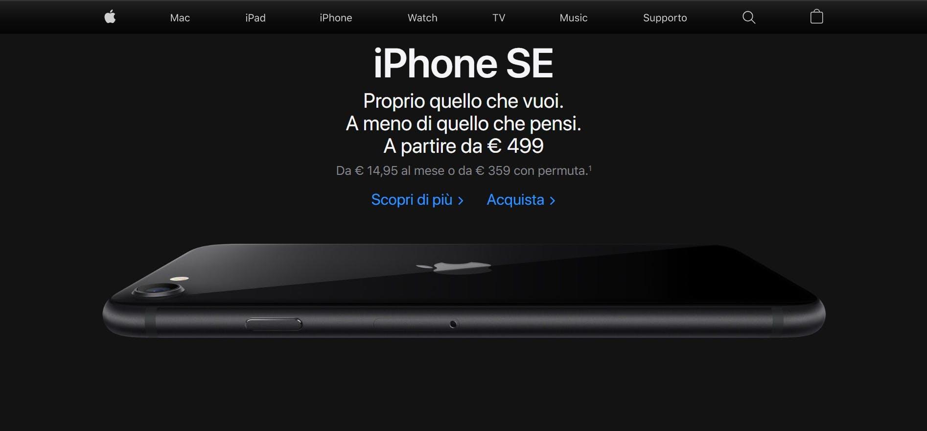 web design del sito apple