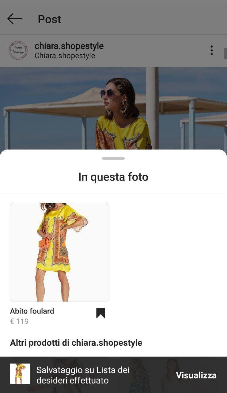 lista dei desideri instagram shopping