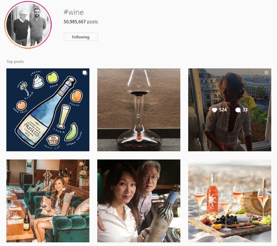 Esempio di ricerca su Instagram per hashtag wine