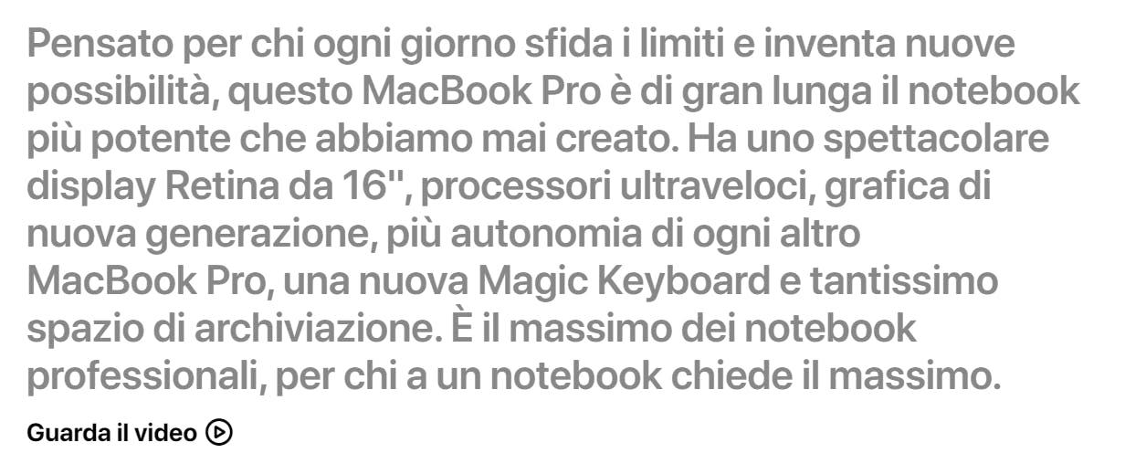 scrivere per ecommerce apple scheda prodotto macbook