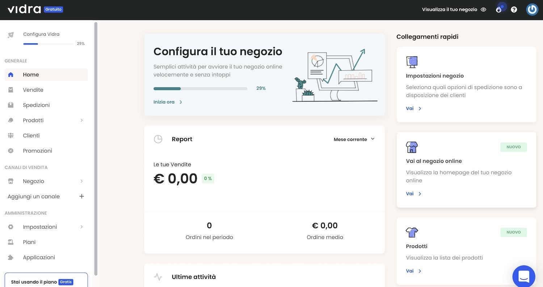vidra piattaforma ecommerce dashboard utente