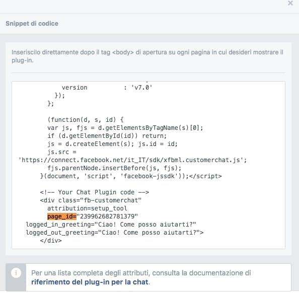 come trovare codice page id per configurare facebook chat