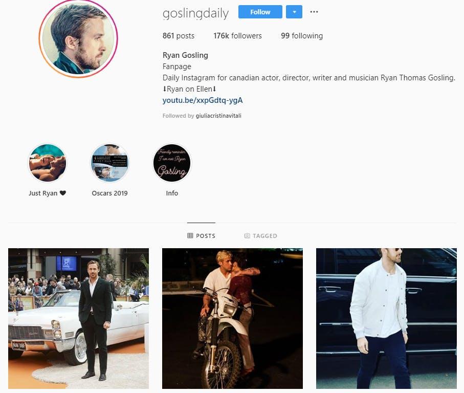 Profilo Instagram della celebrity Ryan Gosling