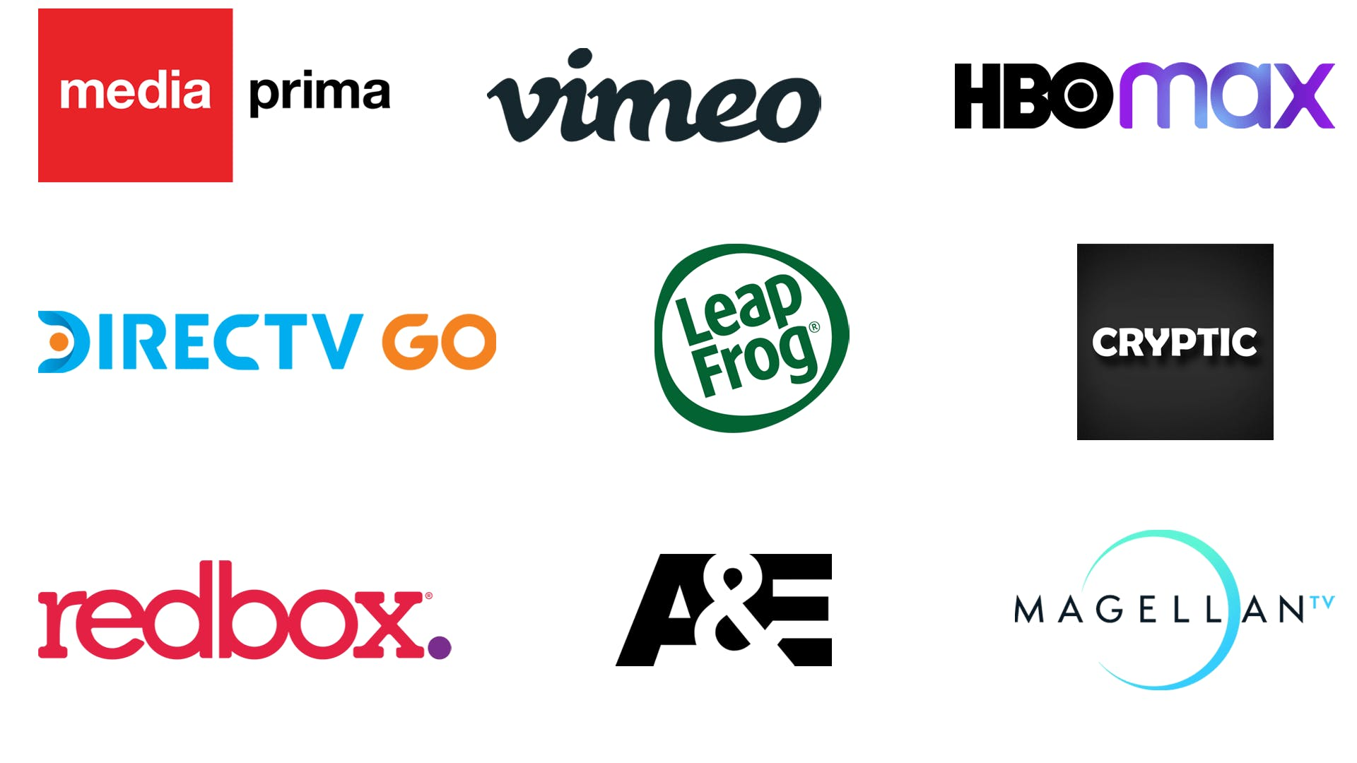 TV, video, gaming, Vimeo, HBO Max, Media prima, DirecTV Go, LeapFrog, Cryptic, Redbox, A&E, Magellan TV