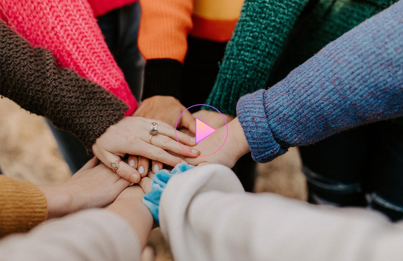 Girl friends hands piled together