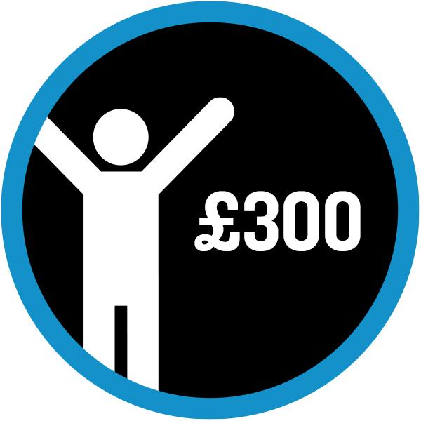 White icon '£300 raised'