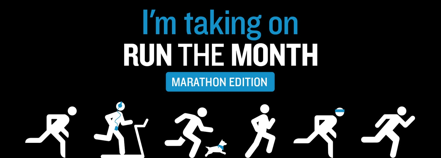 'I'm taking on run the month' black banner with white figures running underneath