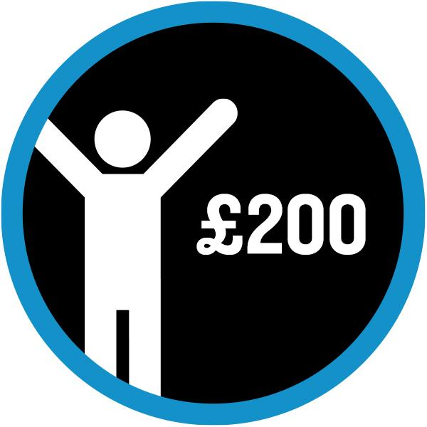 White icon '£200 raised'