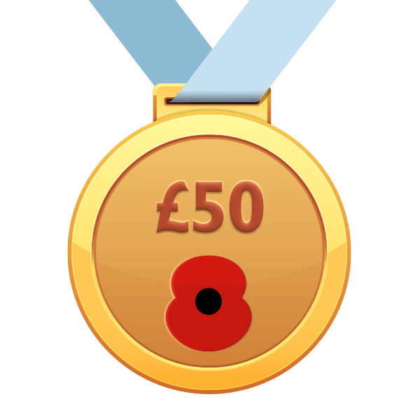 £50 Raised Poppy Run Medal