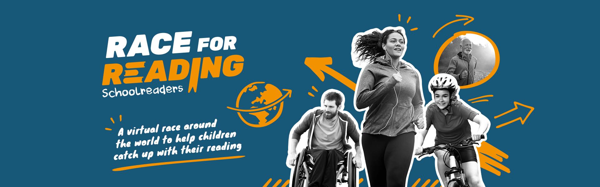 Schoolreaders Race for Reading banner