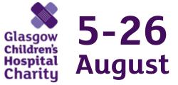 Glasgow Children's Hospital Charity logo + date of challenge 5-26 August