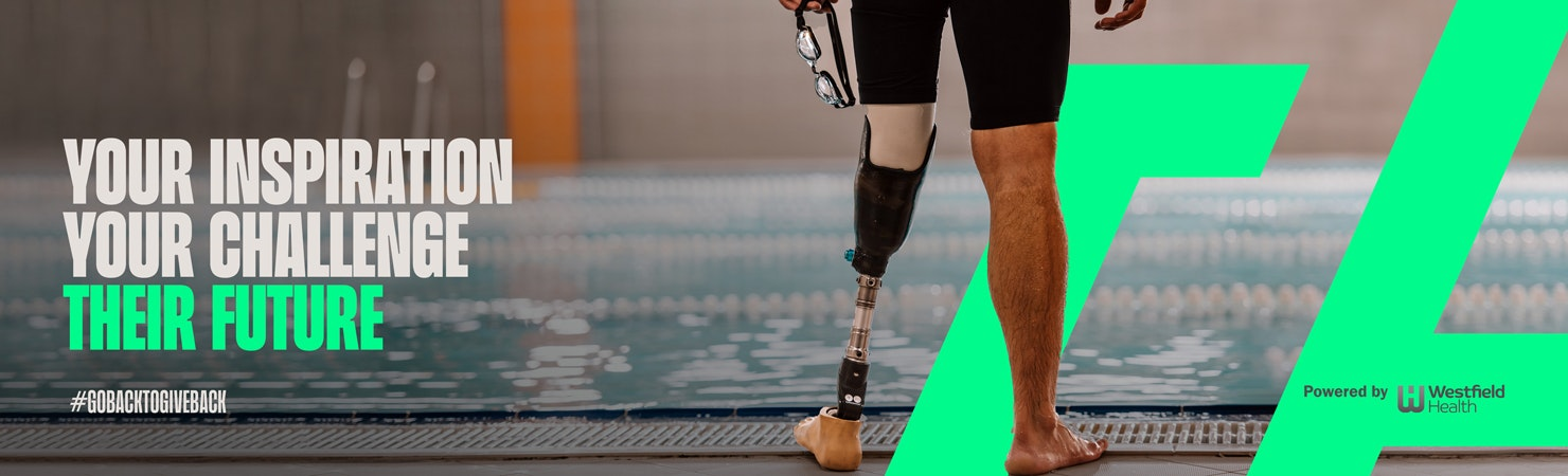 Image of a pair of legs standing infront of a swimming pool, one is amputated, with the text 'Your inspiration, your challenge, their future' over the top