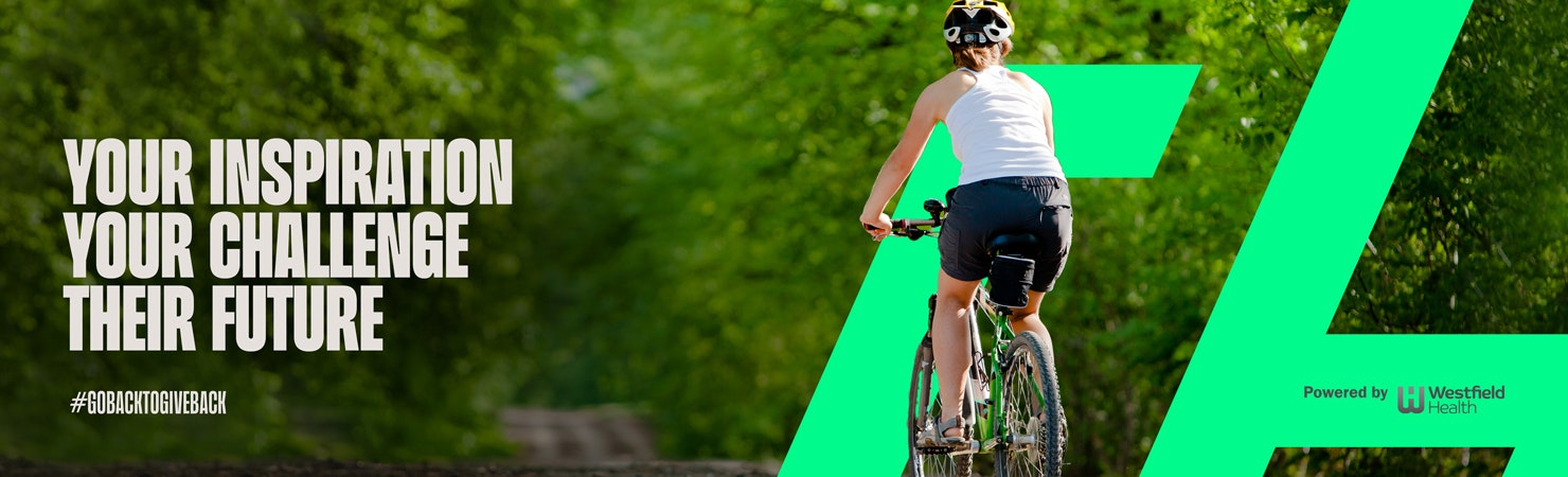 Person riding outdoors in a leafy area with the words 'Your Inspiration ,Your challenge, their future' over the top.