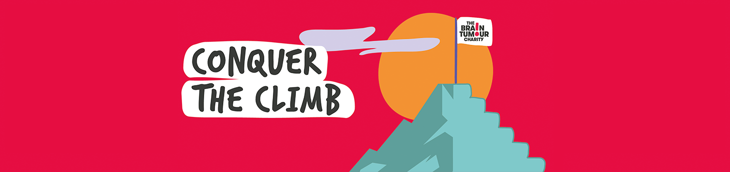 Conquer the Climb - Illustration of mountain with the sun behind it and a flag on the summit saying The Brain Tumour Charity.