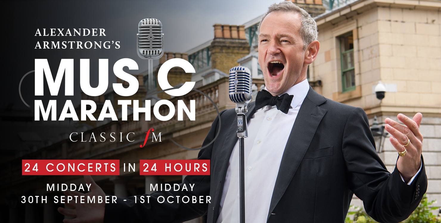 Alexander' Armstrong's Music Marathon - Classic FM Website Banner - Alexander Armstrong singing in Covent Garden