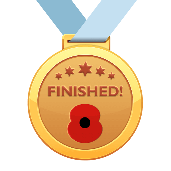 All Medals Received Poppy Run Medal