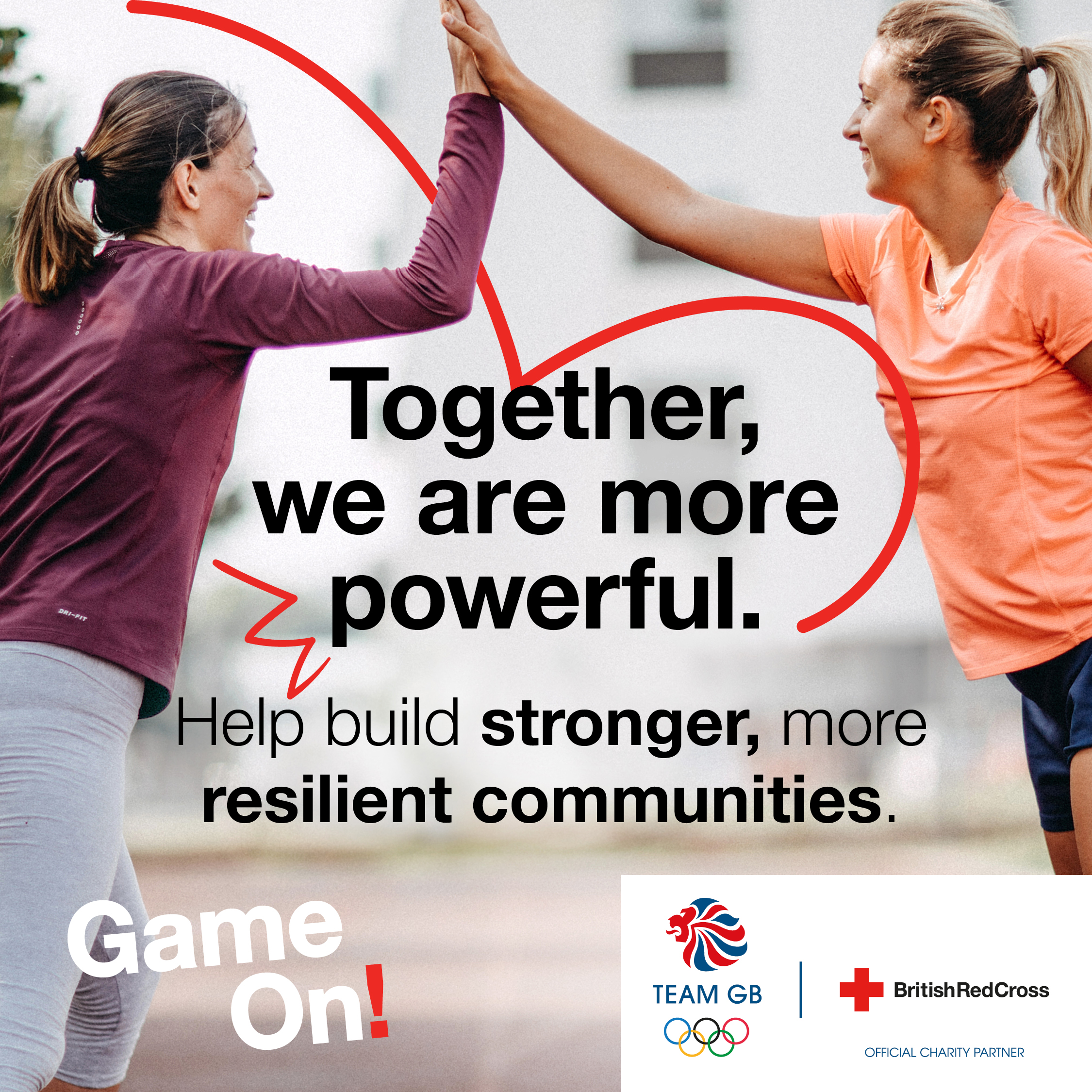 Poster image with the following text on : Together we are more powerful.  Help build stronger, more resilient communities