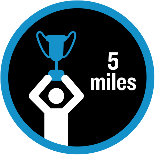 5 miles badge with figure holding a trophy