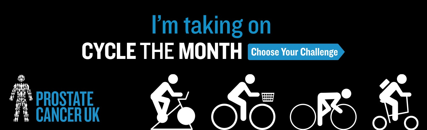 I'm taking on Cycle the Month: Choose your Challenge fundraising page header banner