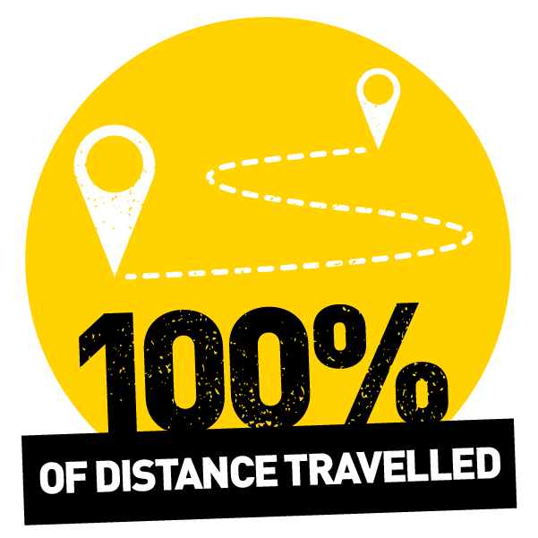 100% travelled