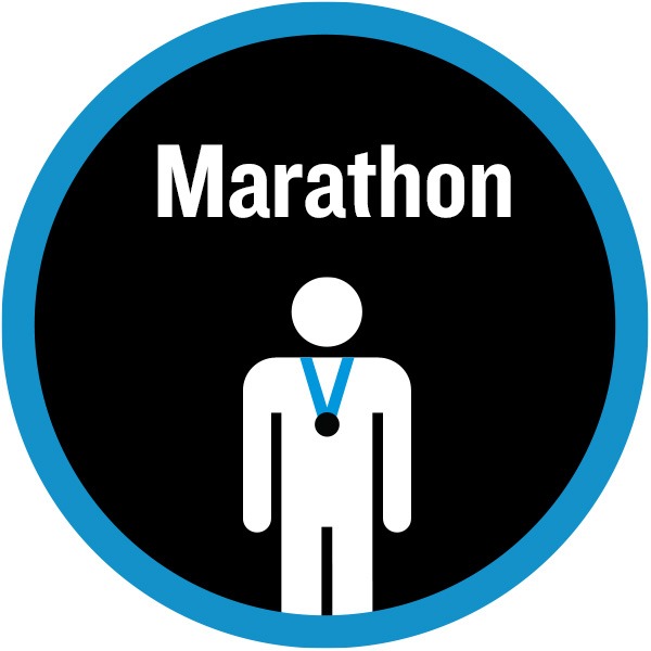 Marathon badge with figure wearing a medal