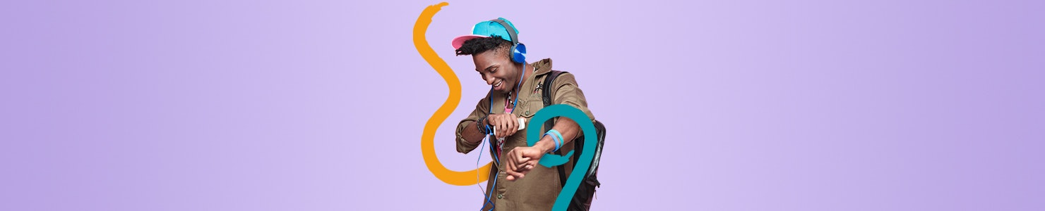 Barnardo's Dance Challenge Banner - Young person in cap wearing headphones and listening to music.