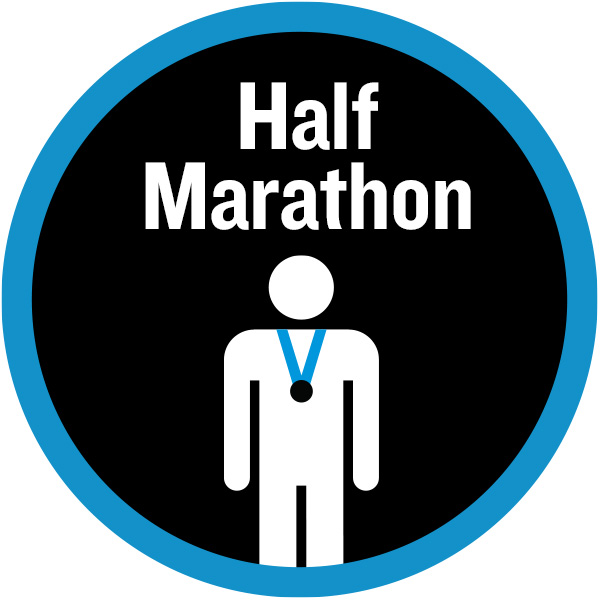 Half marathon badge with figure wearing a medal