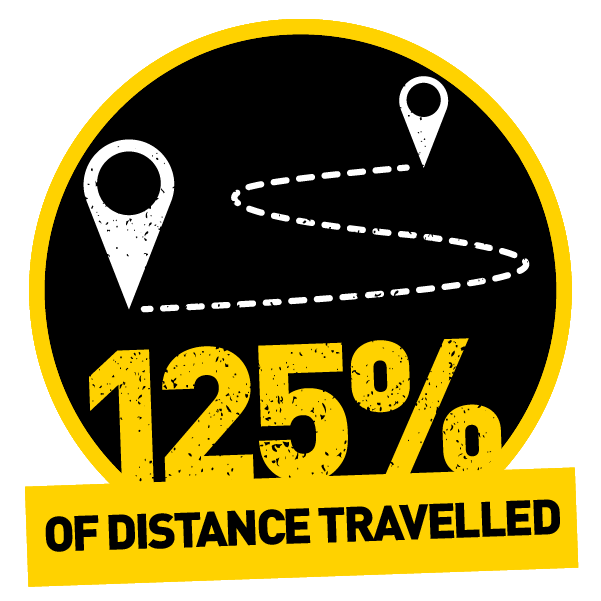 125% travelled