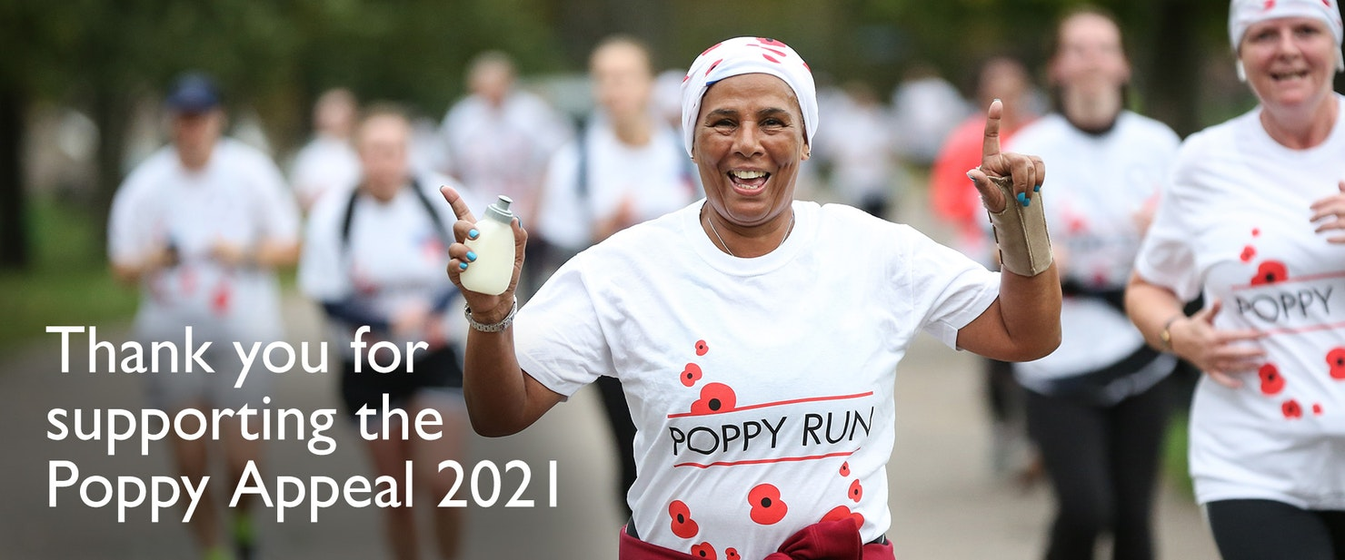 Lady running with Poppy Run t-shirt on.  Overlaid text - Thank you for supporting the Poppy Appeal 2021.