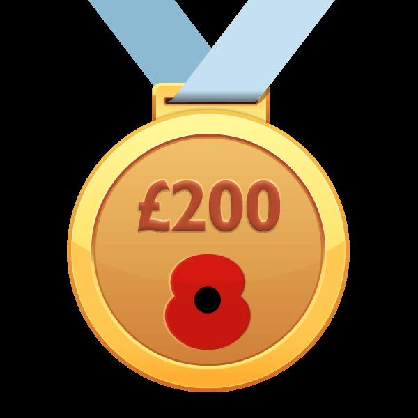 £100 Raised Poppy Run Medal