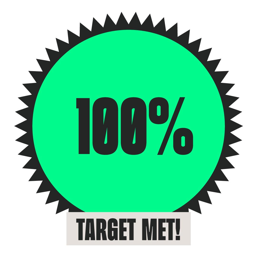 100% fundraising achieved badge