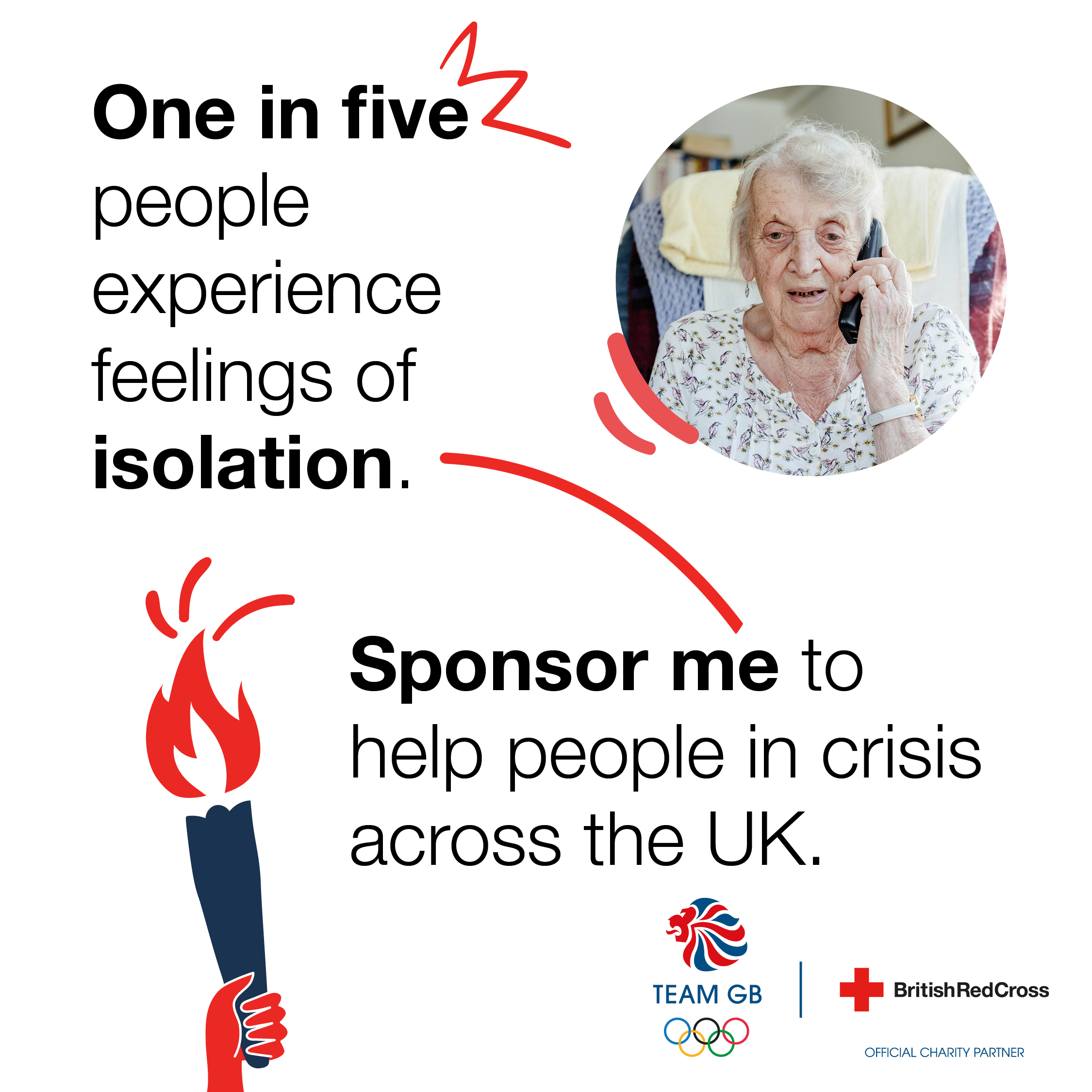 Image with the following text on:  One in five people experience feelings of isolation. Sponsor me to help people in crisis across the UK.