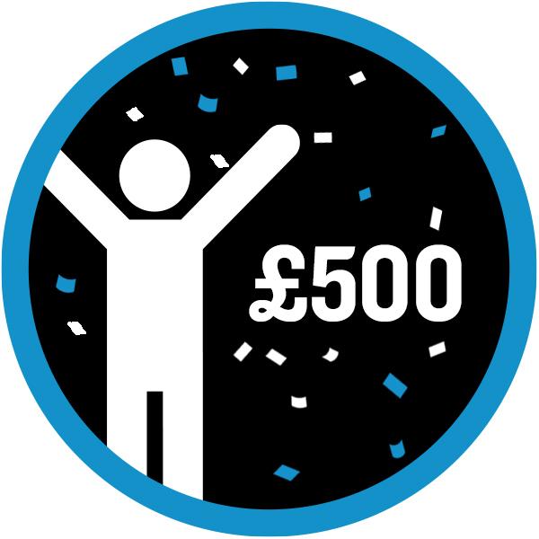 £500 raised icon