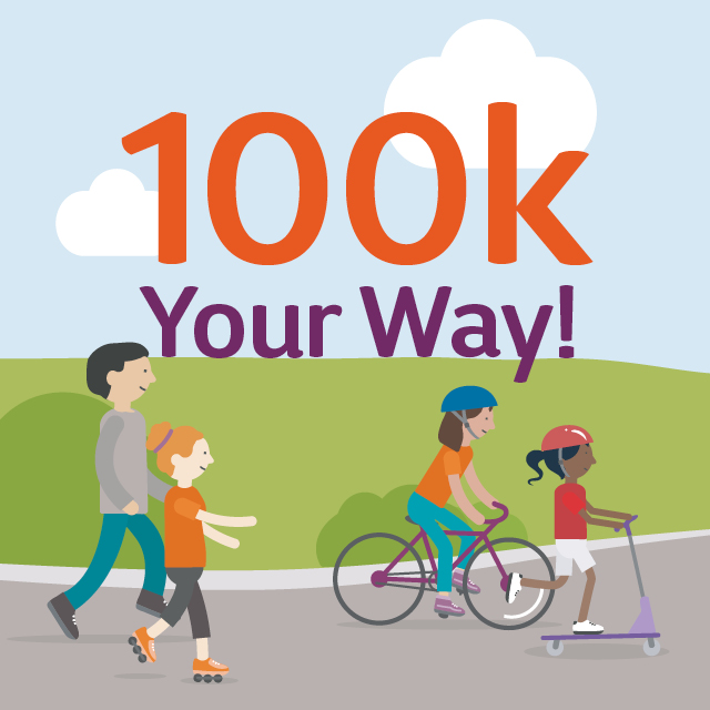100k your way profile picture with people roller skating .scooting and biking next to each other