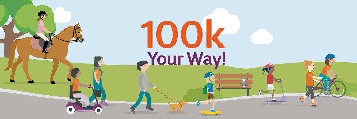100k challenge banner featuring people taking part in their challenge through cycling, scooting, walking and skating.