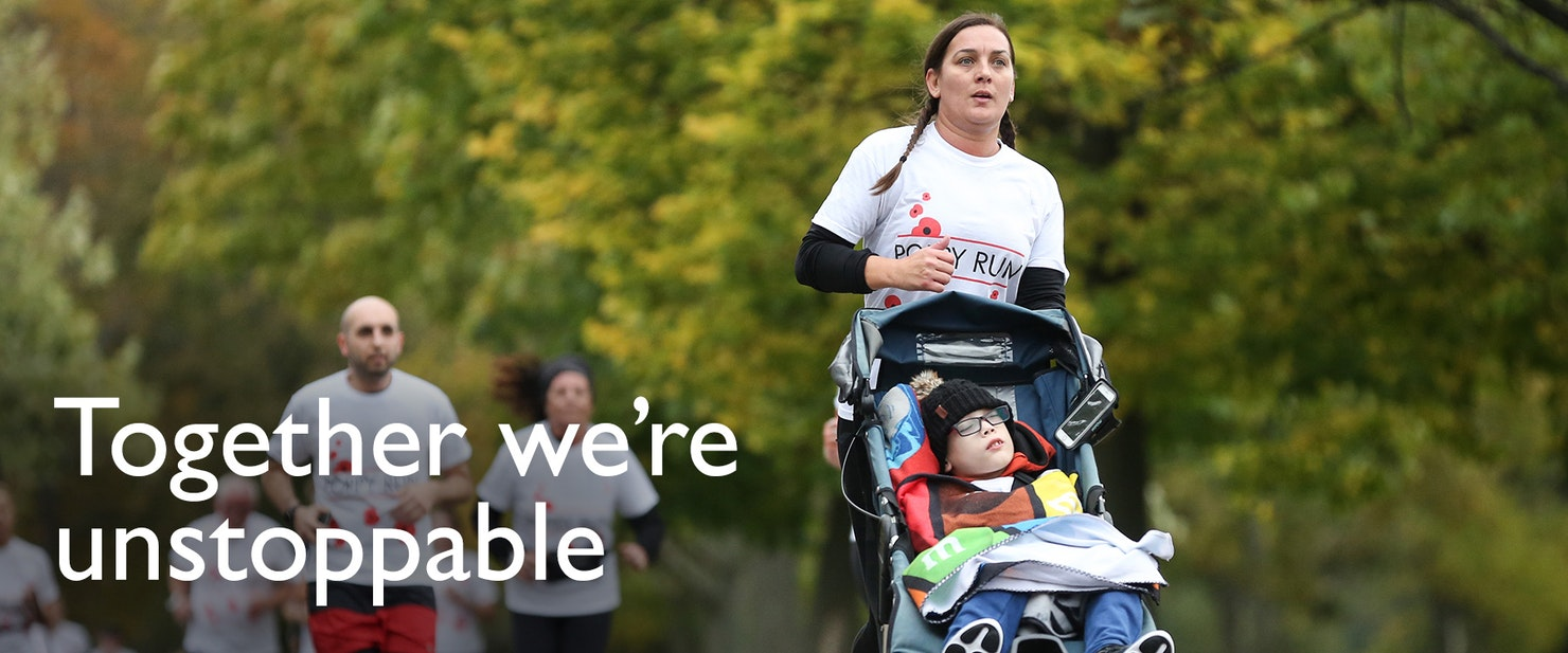 Women pushing a boy in a pushchair.  Text overlaying image - Together we're unstoppable.