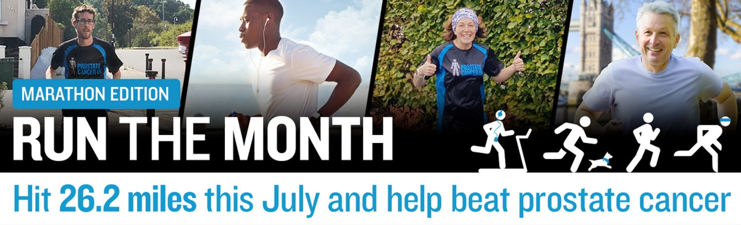 Prostate Cancer UK Run the Month banner with four people running in different locations collaged together